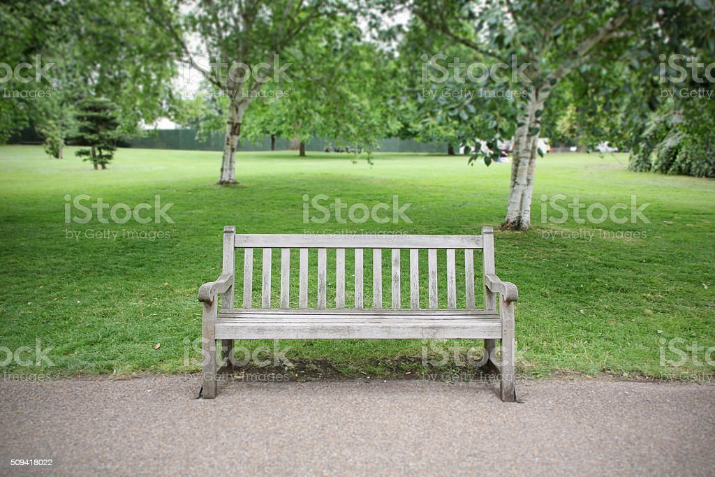 Empty Bench in park stock photo