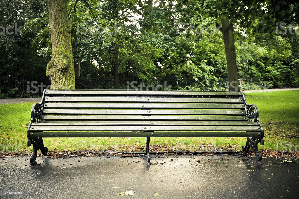 Empty Bench in Regent's Park, London stock photo
