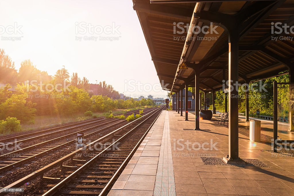 empty Berlin S-Bahn platform in warm summer afternoon stock photo