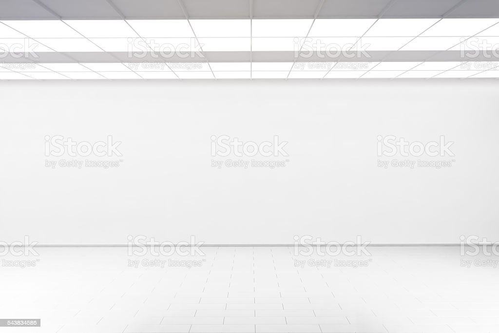 Empty big hall wall mockup, nobody, 3d rendering. stock photo