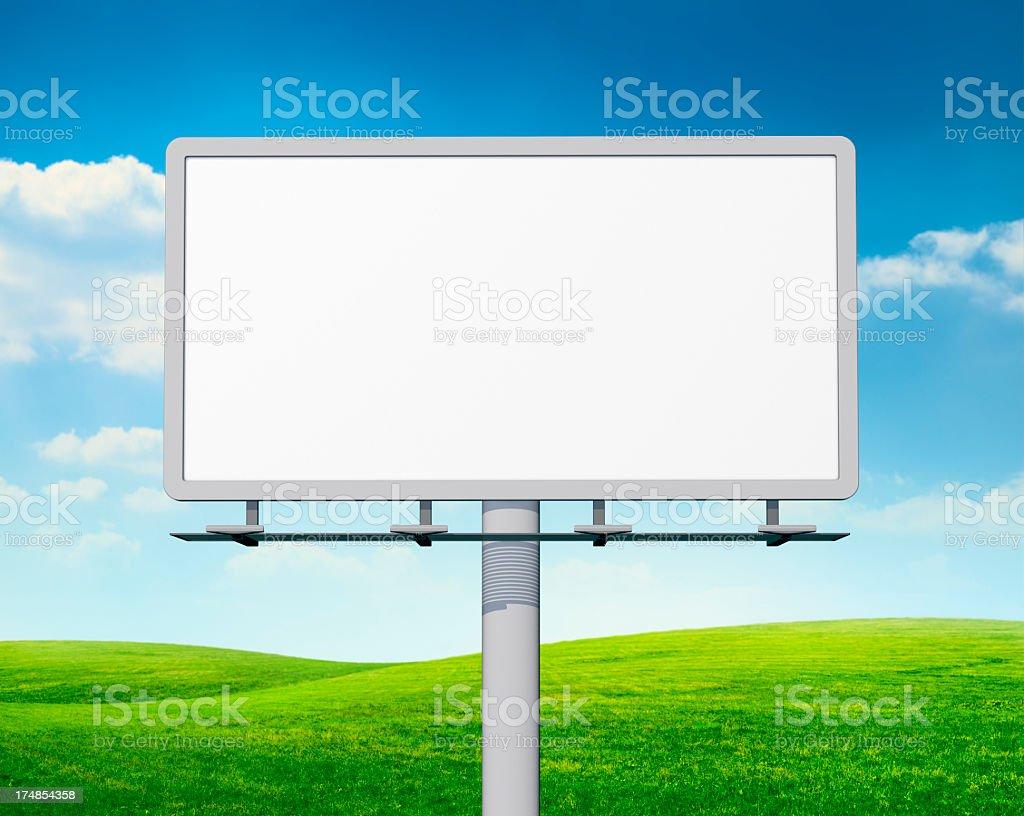 Empty billboard in field stock photo