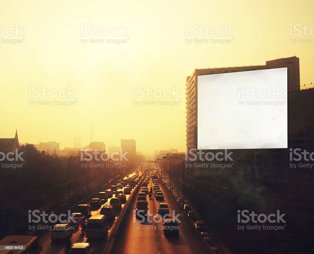 Empty billboard on the road stock photo