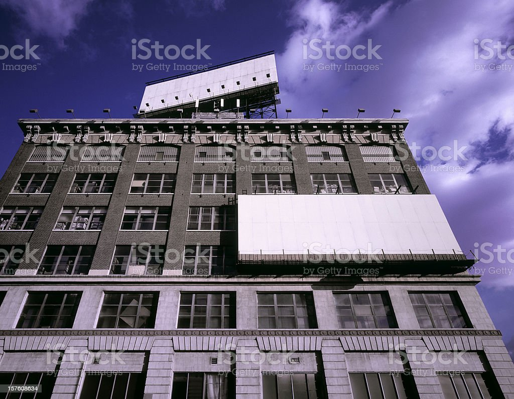 Empty billboards on old warehouse in New York royalty-free stock photo