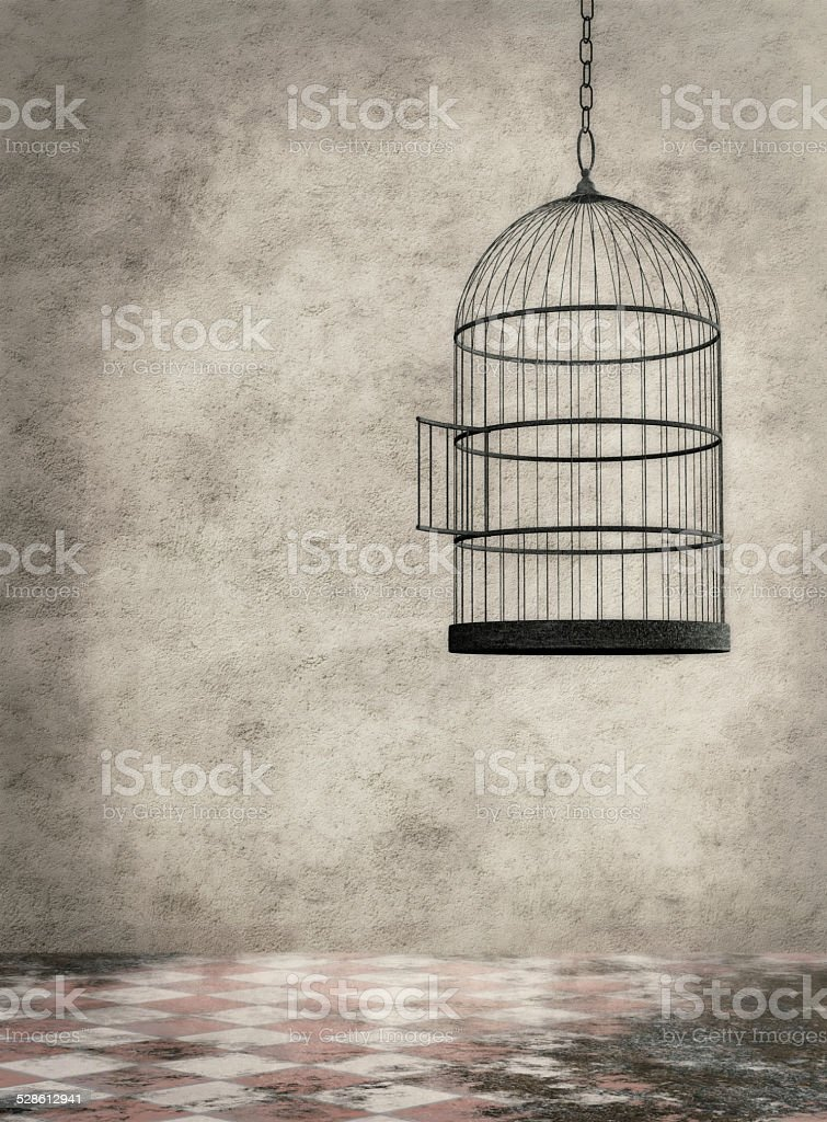 Empty birdcage hanging in an old room stock photo