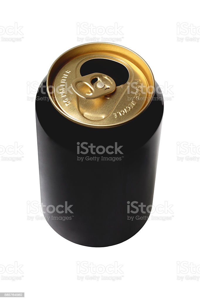 Empty Black Beer Can stock photo