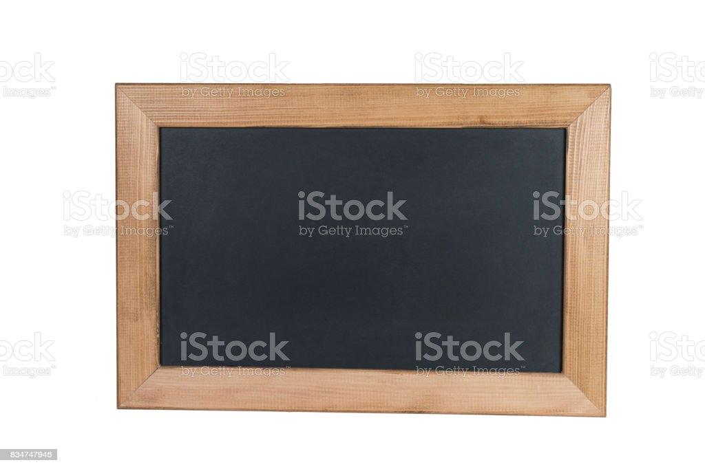 Empty Black Board on White Background stock photo