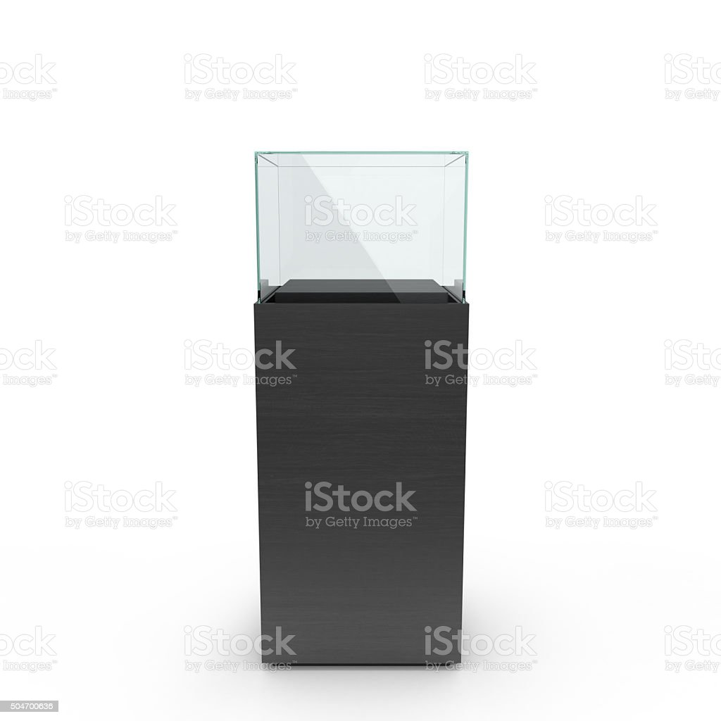 empty black showcase with pedestal stock photo