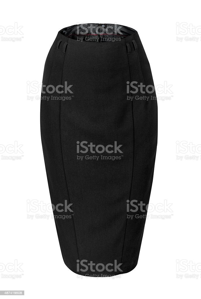 empty black skirt pencil isolated on white background stock photo