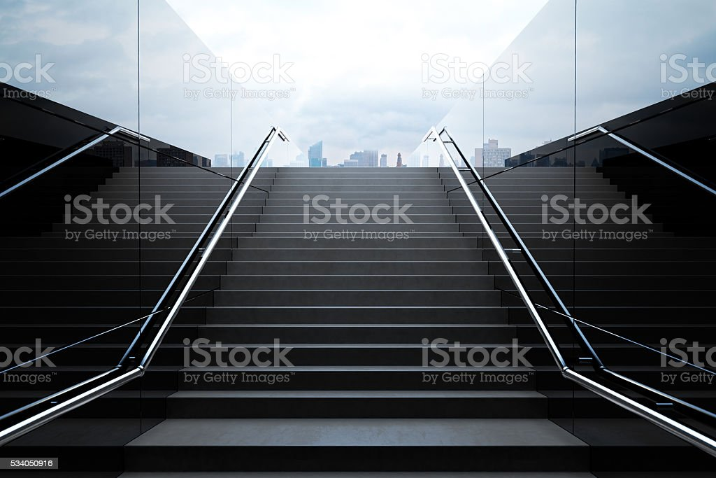 Empty black stairs with skyline stock photo
