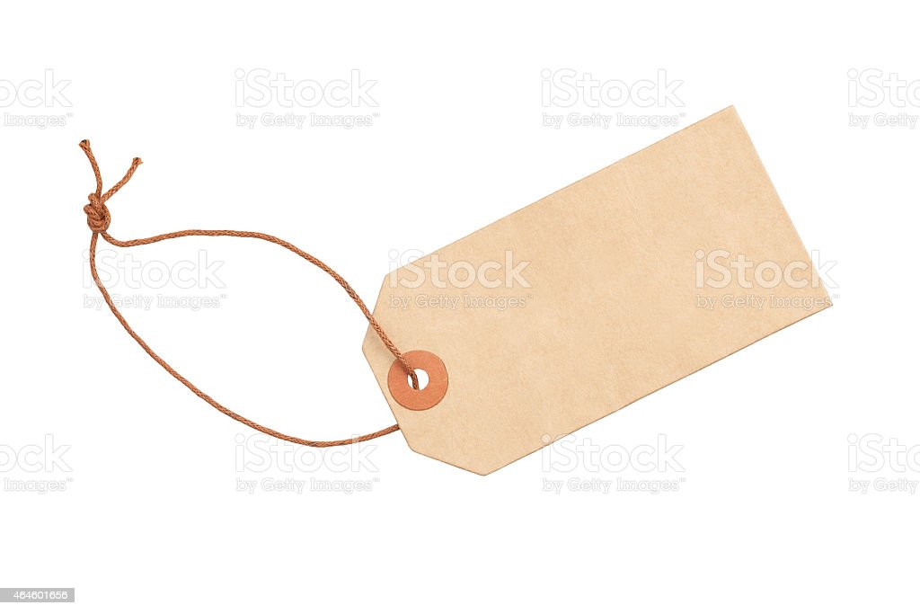 Empty blank label tag on white background stock photo