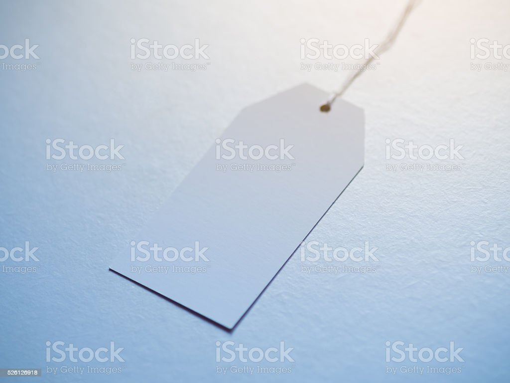 Empty blank paper tag. stock photo