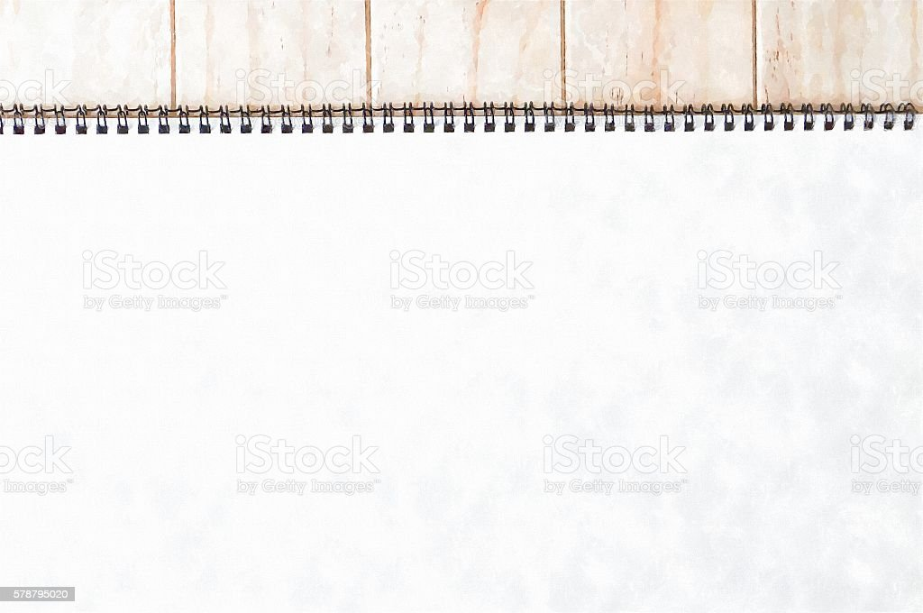 Empty blank white front page cover of spiral bound notepad on the...