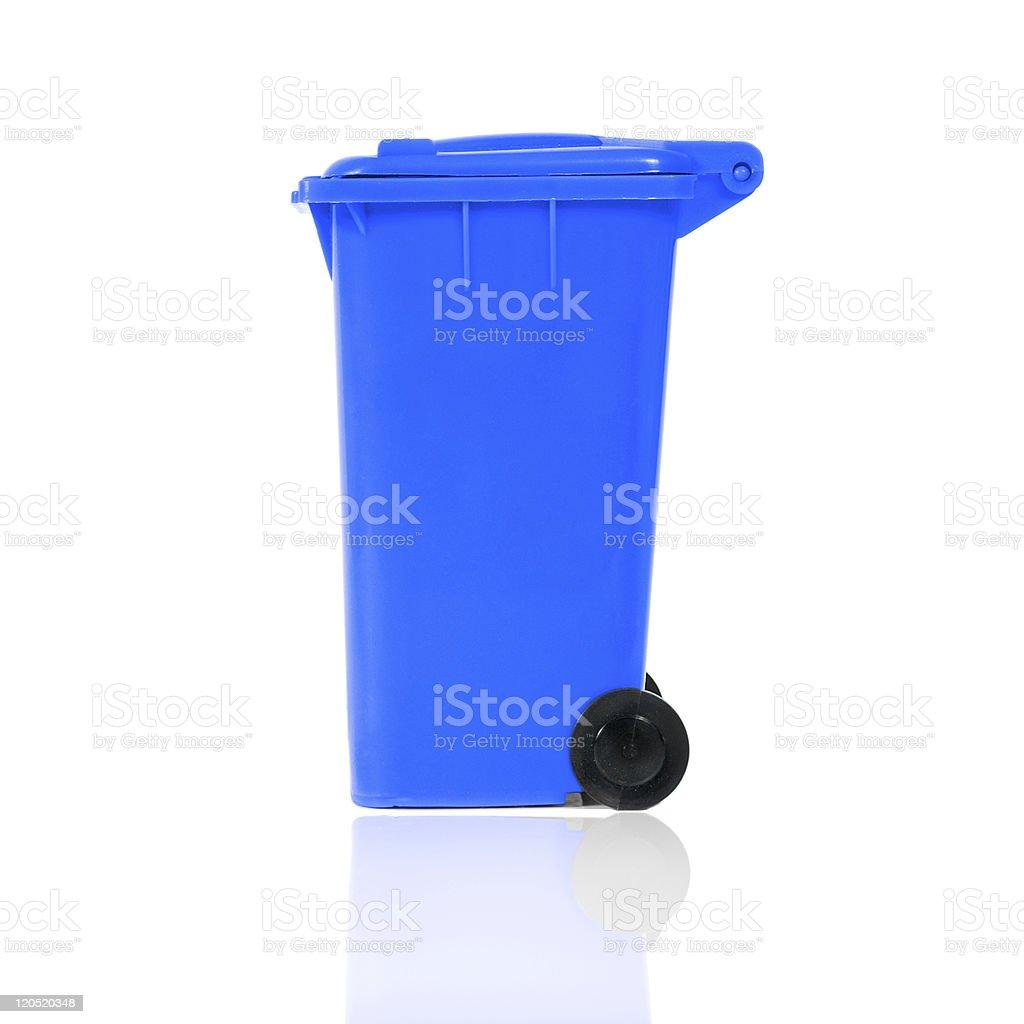 empty blue recycling bin royalty-free stock photo