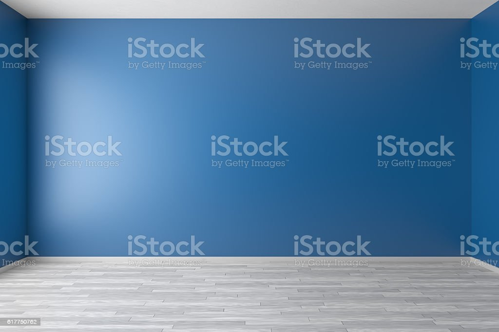 Empty blue room with white parquet floor vector art illustration
