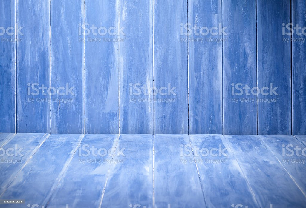 Empty blue table stock photo