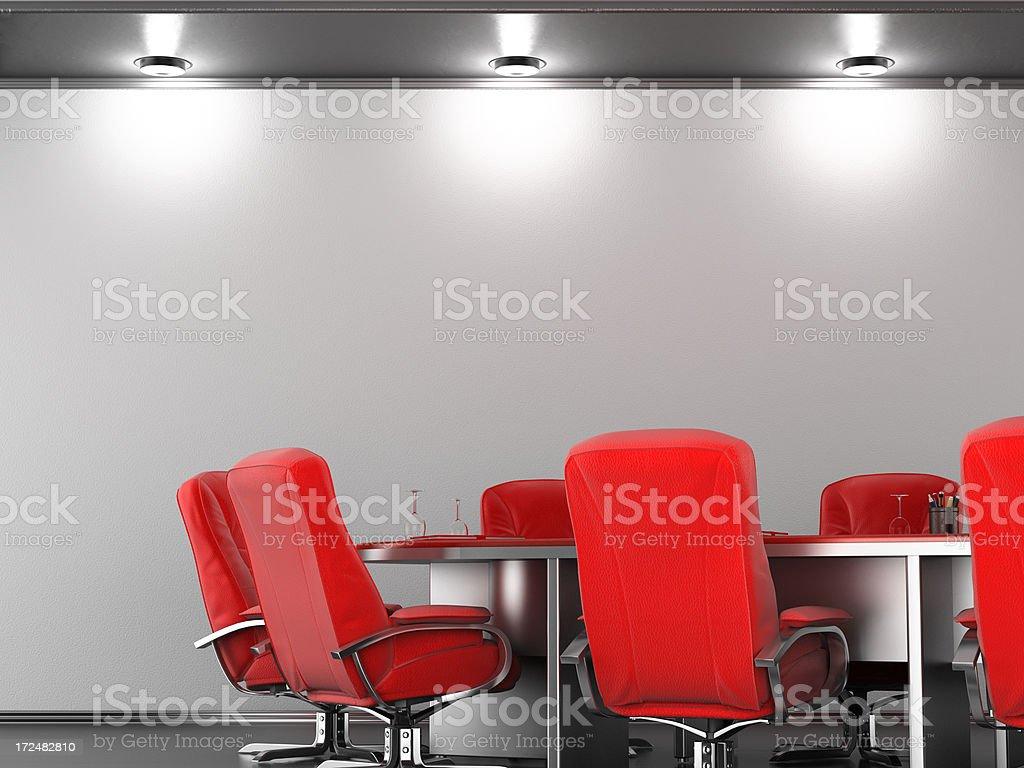 Empty board room wall stock photo