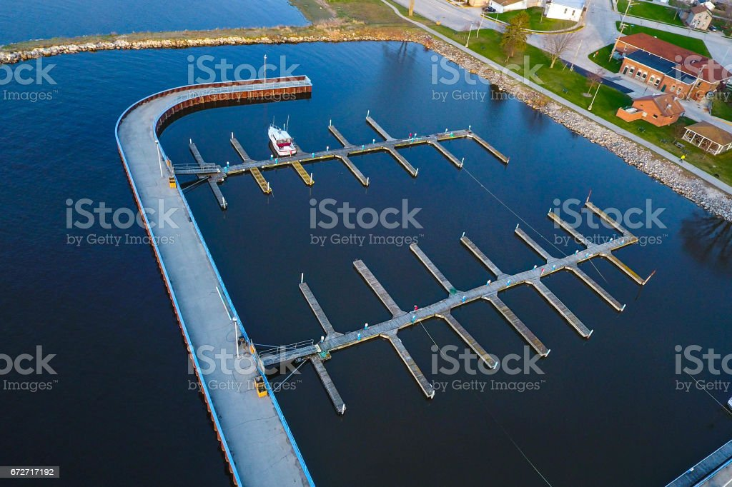 Empty boat slips on the Great Lakes stock photo