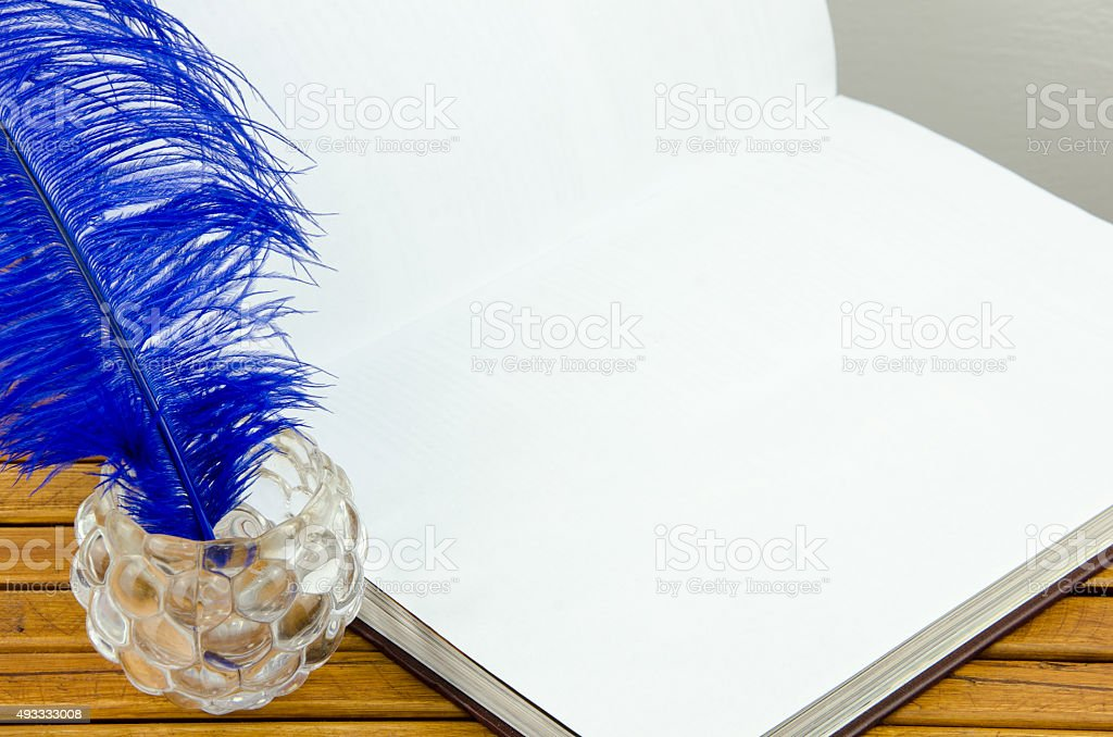 empty book ready to write with a pen stock photo