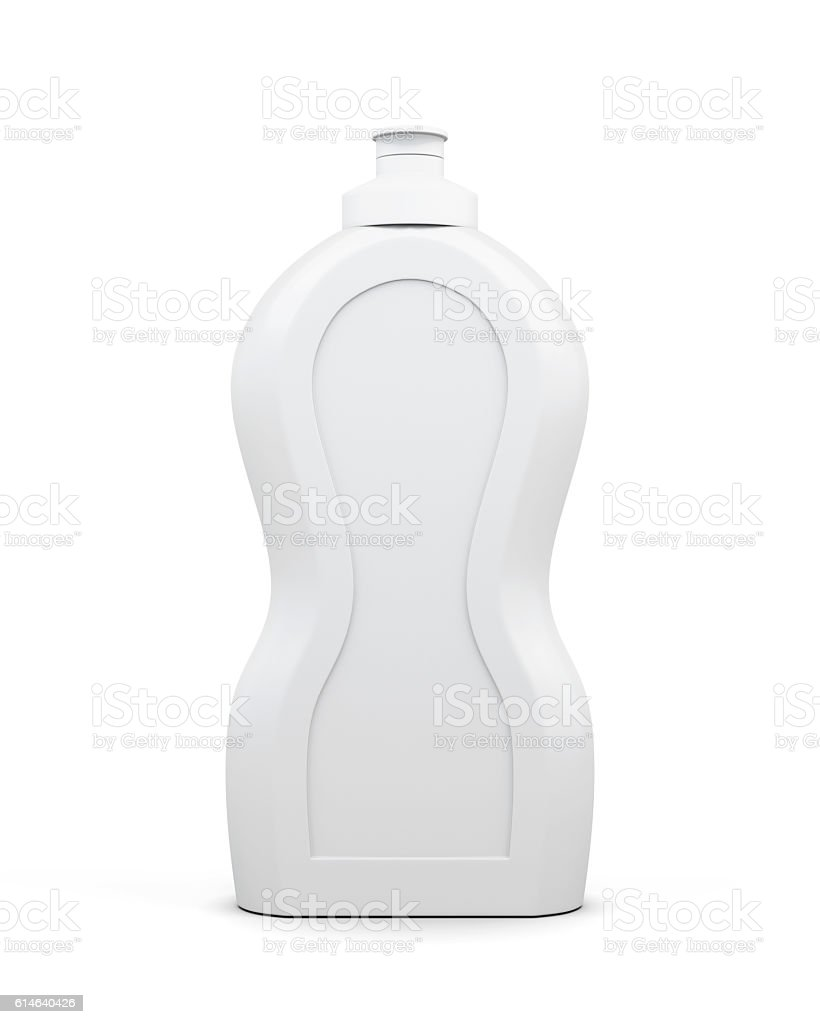 Empty bottle of detergent isolated on a white background. stock photo