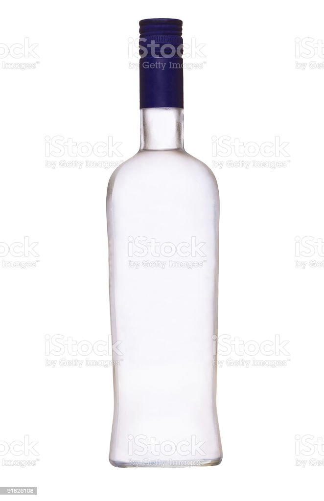 Empty bottle of vodka with a blue cap stock photo