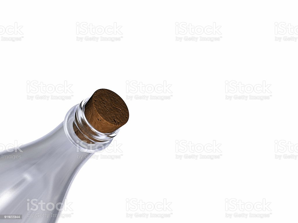 Empty bottle with cap cork inclined stock photo