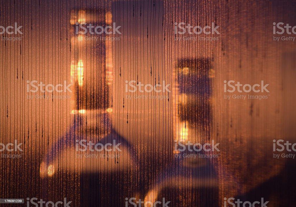 Empty bottles at sunset royalty-free stock photo