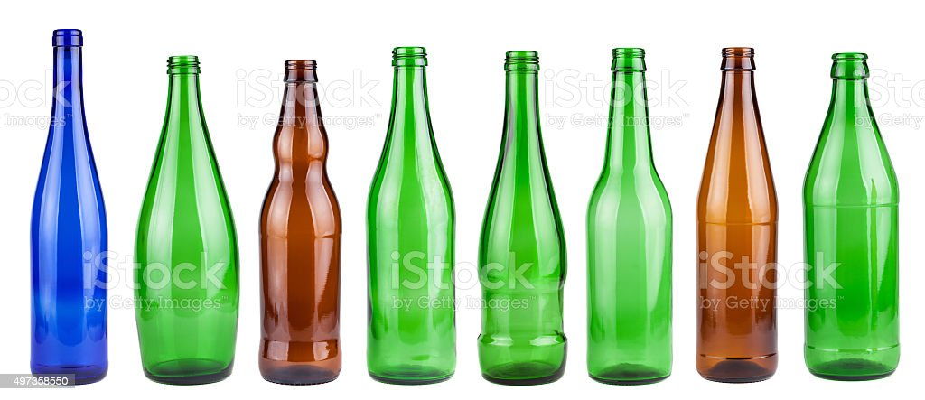 Empty bottles collection stock photo
