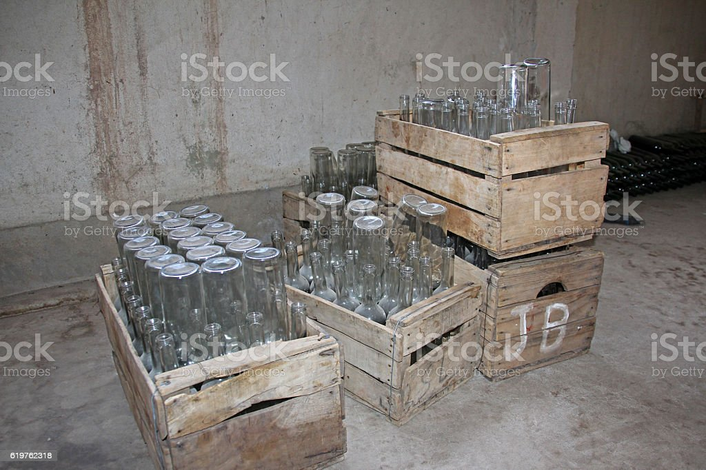 Empty bottles in wooden boxes, ready to be filled, Camargo, Bolivia