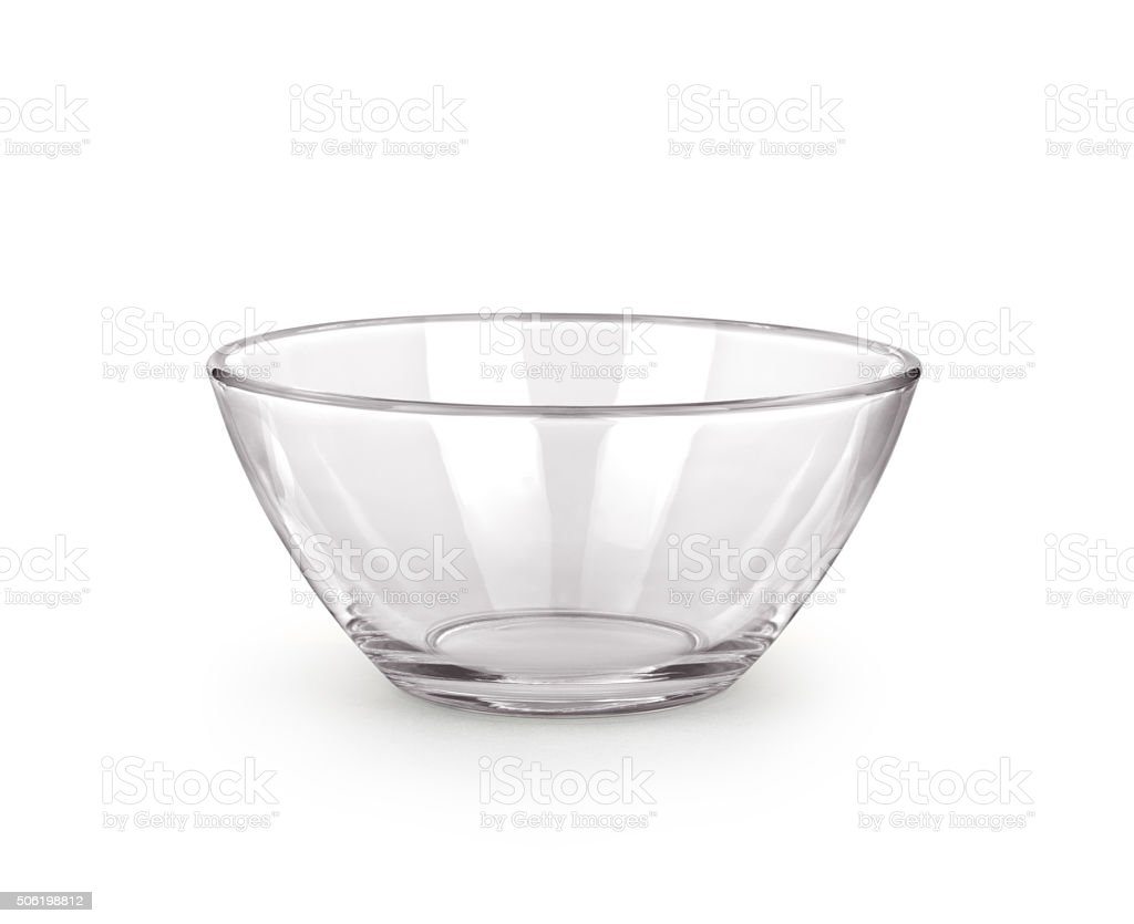 Empty bowl glass isolated on the white background. stock photo