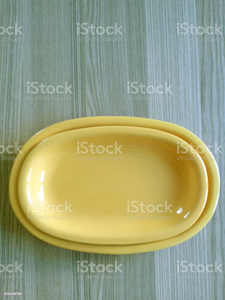 Empty bowls on table stock photo