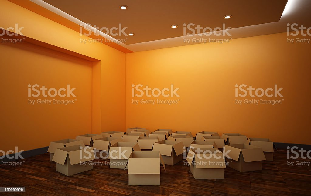 Empty Boxes in the Room royalty-free stock photo