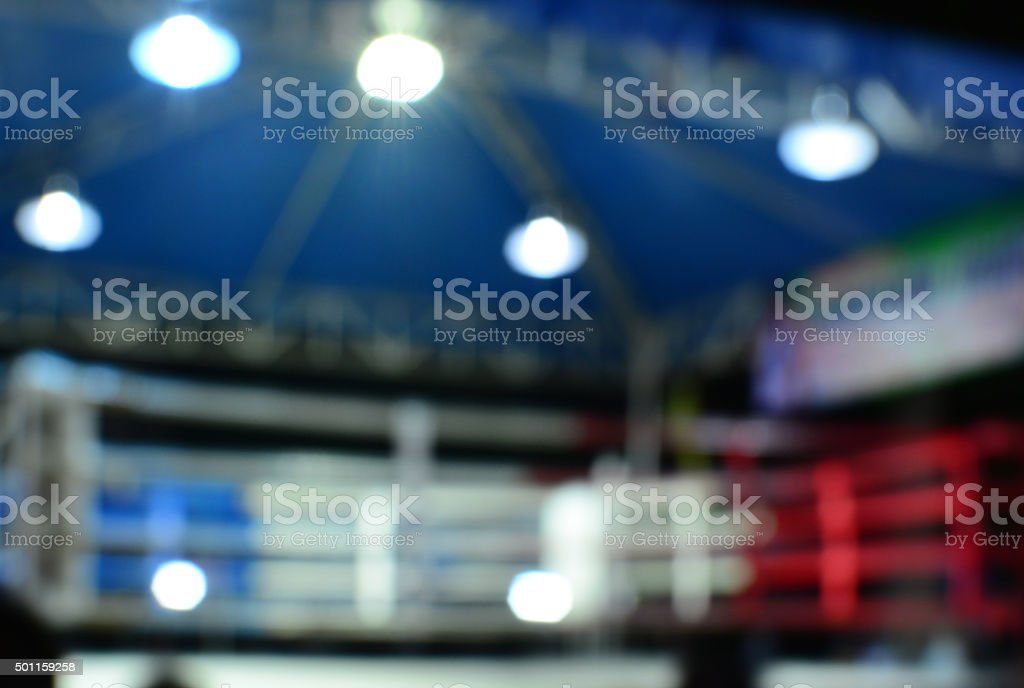 Empty boxing ring abstraction with defocused lights stock photo
