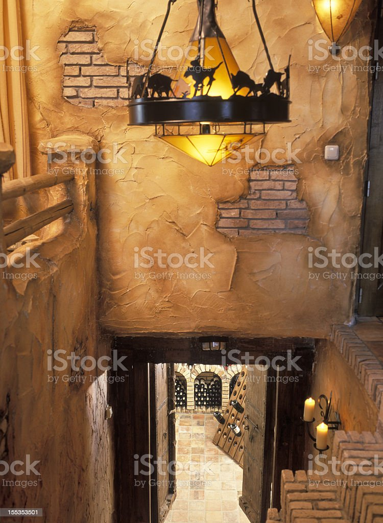 empty brick staircase in Texas style house stock photo