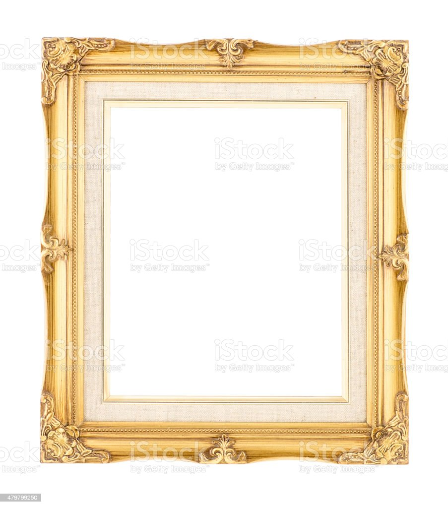 Empty bright gold gilded wood with inner canvas vintage frame stock photo