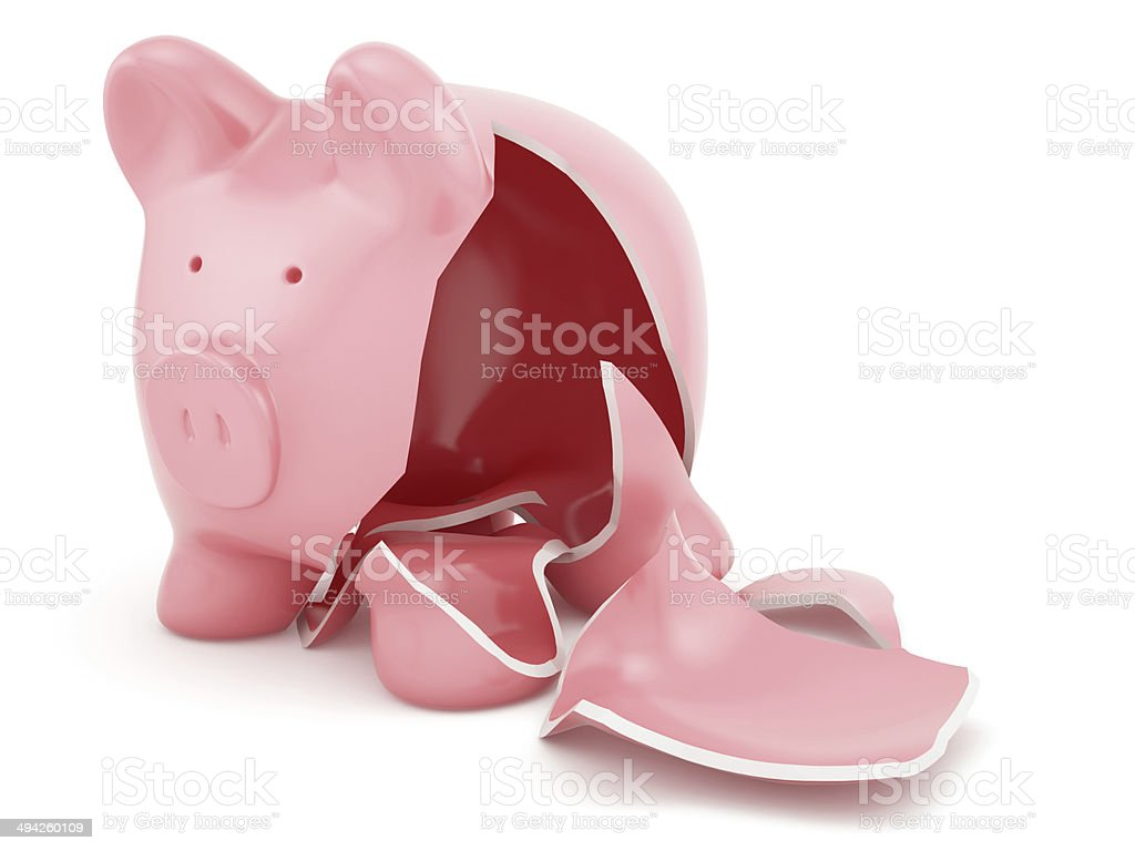Empty broken piggy bank stock photo