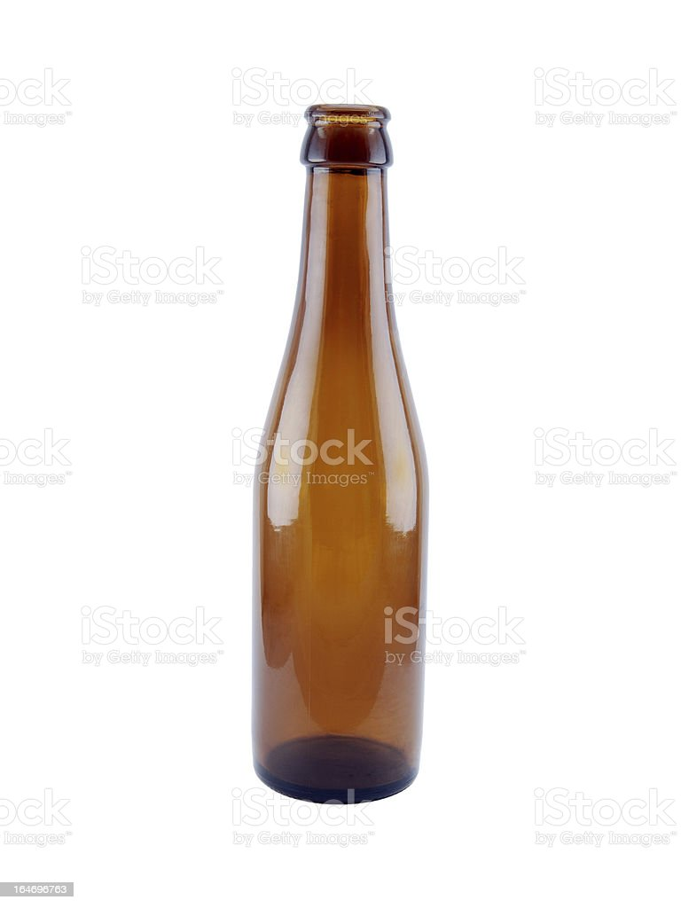 Empty brown beer bottle royalty-free stock photo