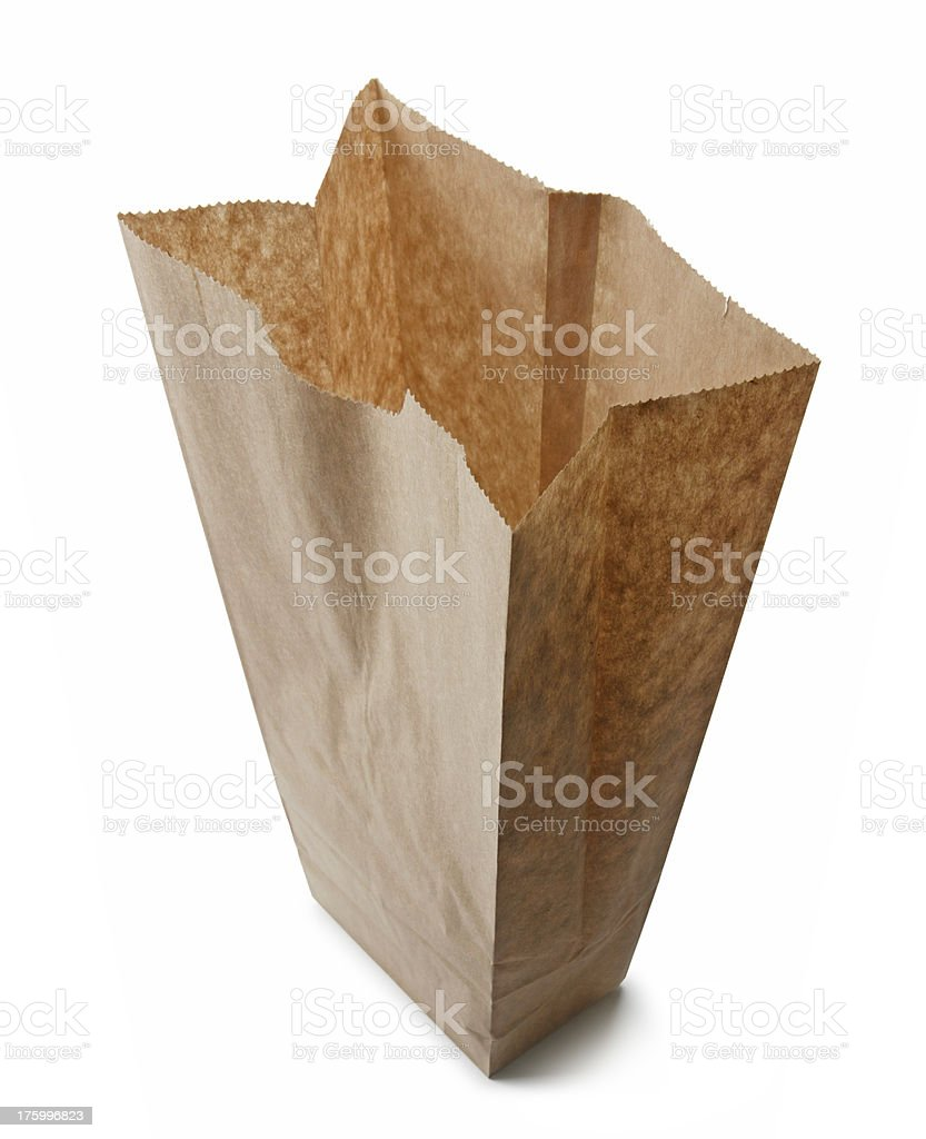 Empty Brown Lunch Bag royalty-free stock photo