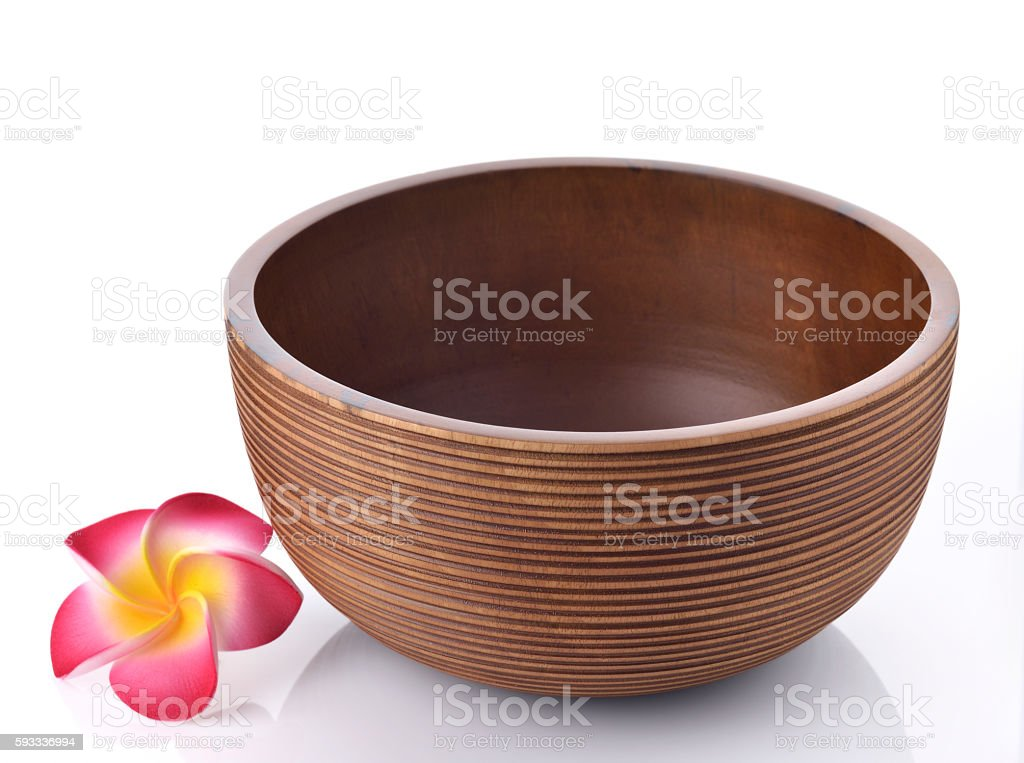 Empty Brown Wooden Bowl on White Background stock photo