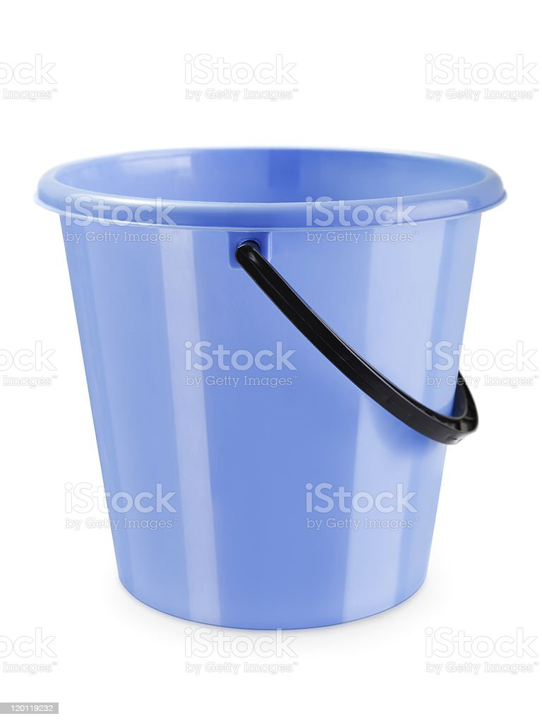 Empty bucket isolated stock photo