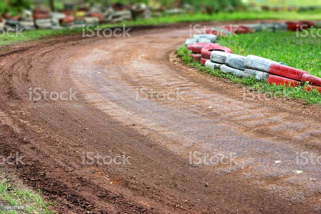 Empty Buggy Or Karting Track Fragment stock photo