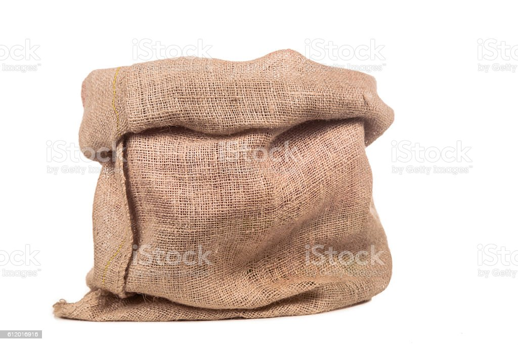 empty burlap bag or sack stock photo