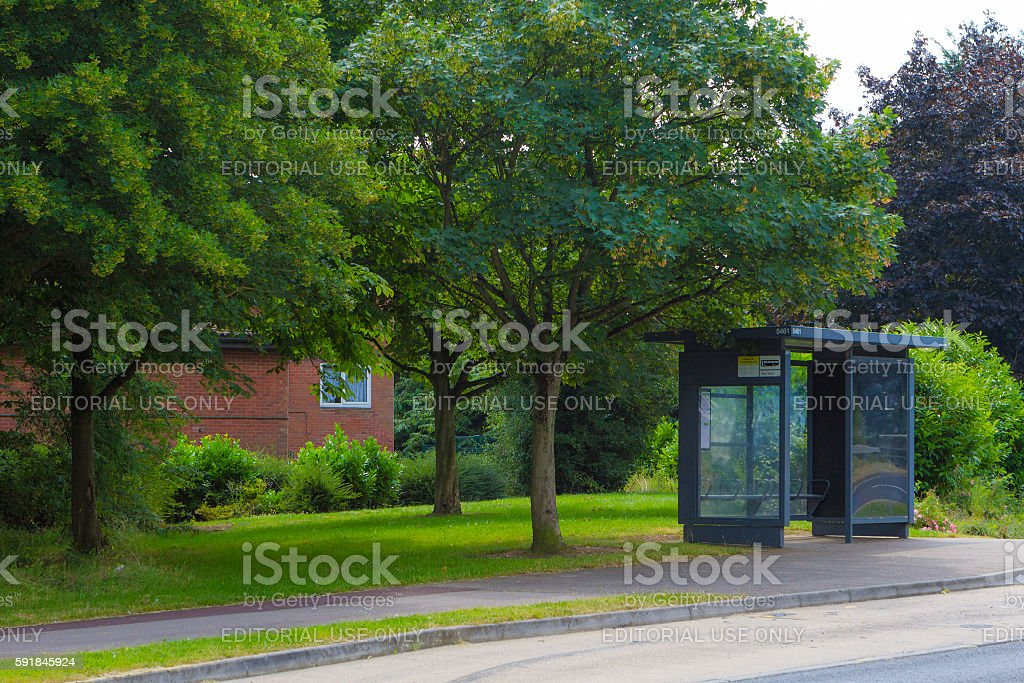 Empty bus stop in Greenleys, Milton Keynes stock photo