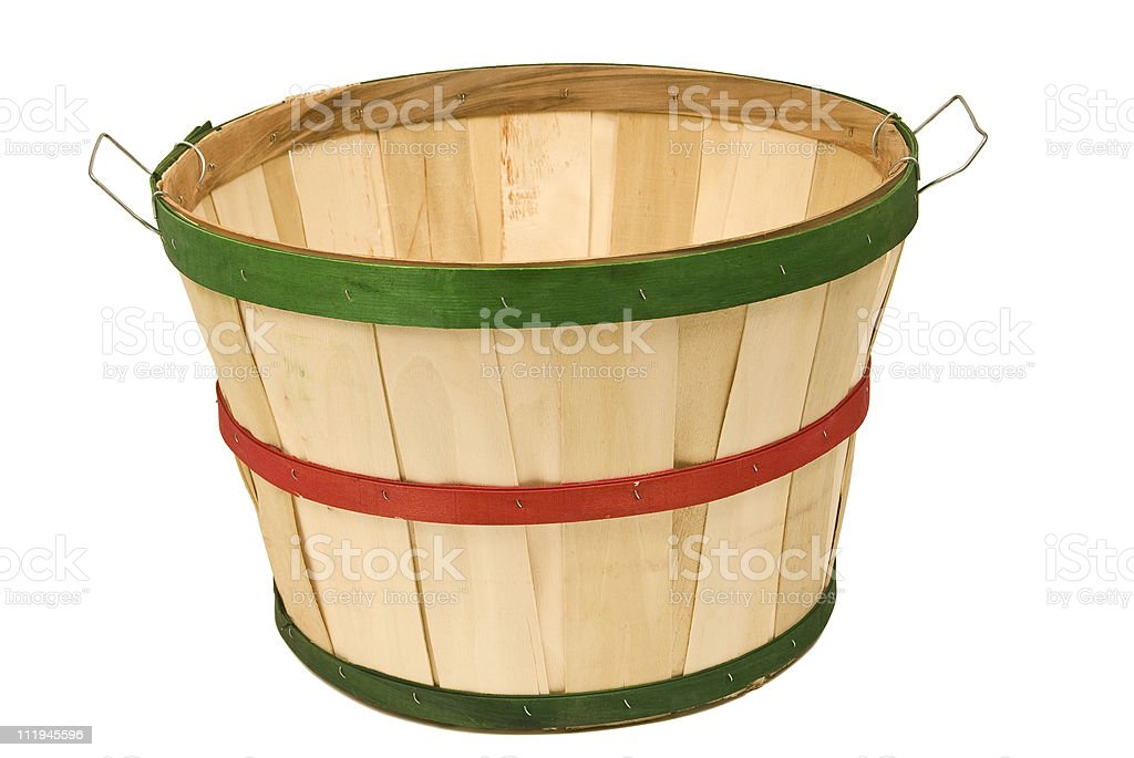 Empty Bushel Basket Isolated On White royalty-free stock photo