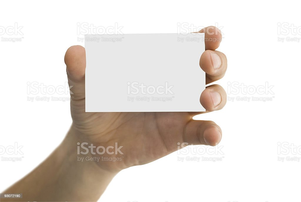 empty business card in a men's hand royalty-free stock photo