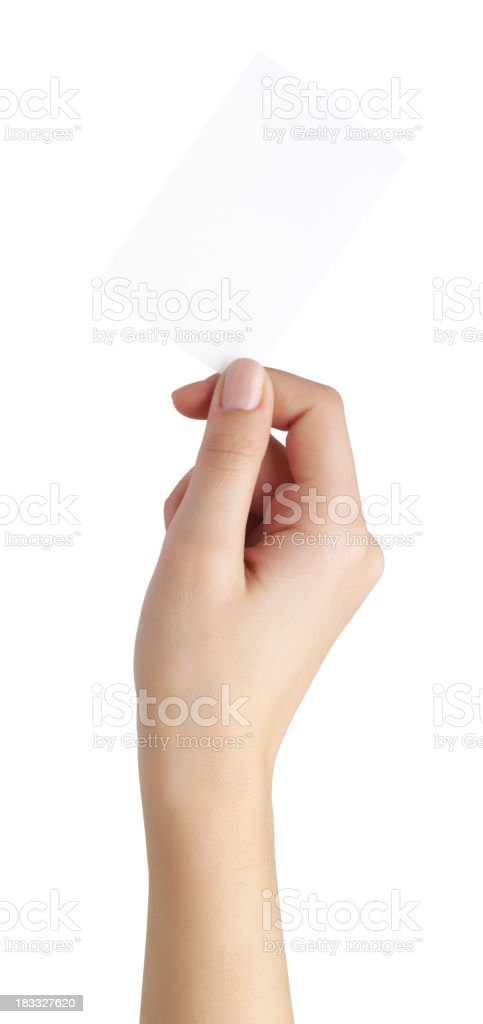 empty business card in a woman's hand stock photo