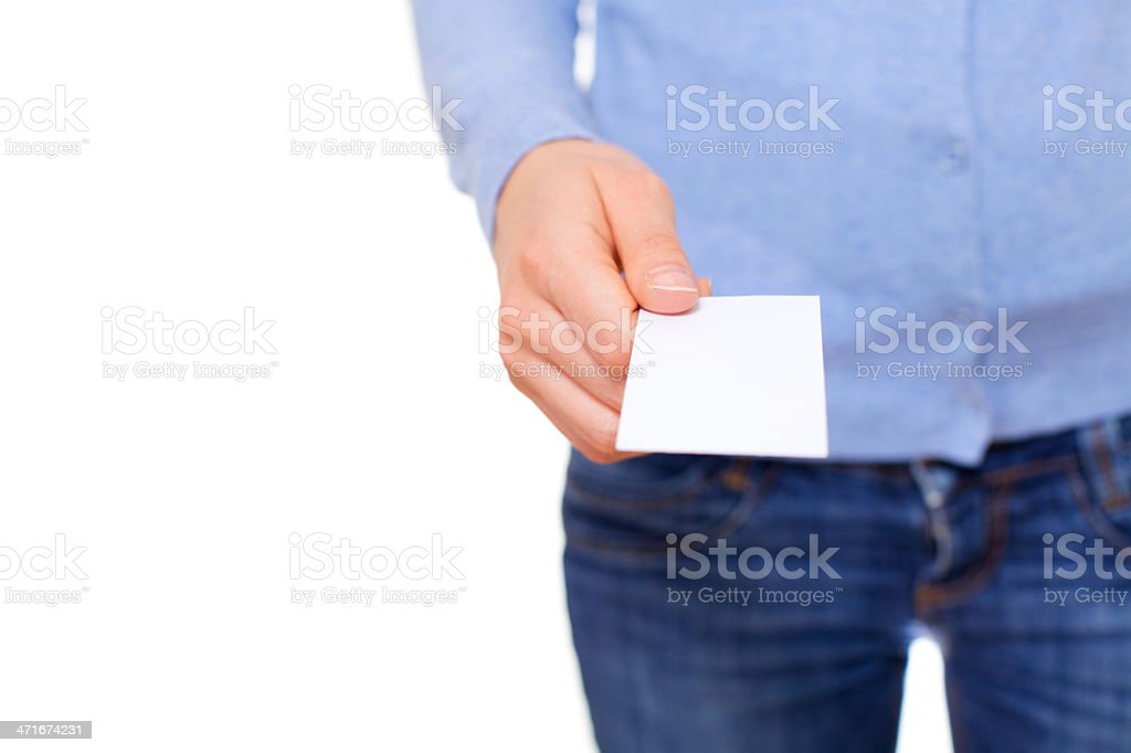 Empty business card in hand royalty-free stock photo
