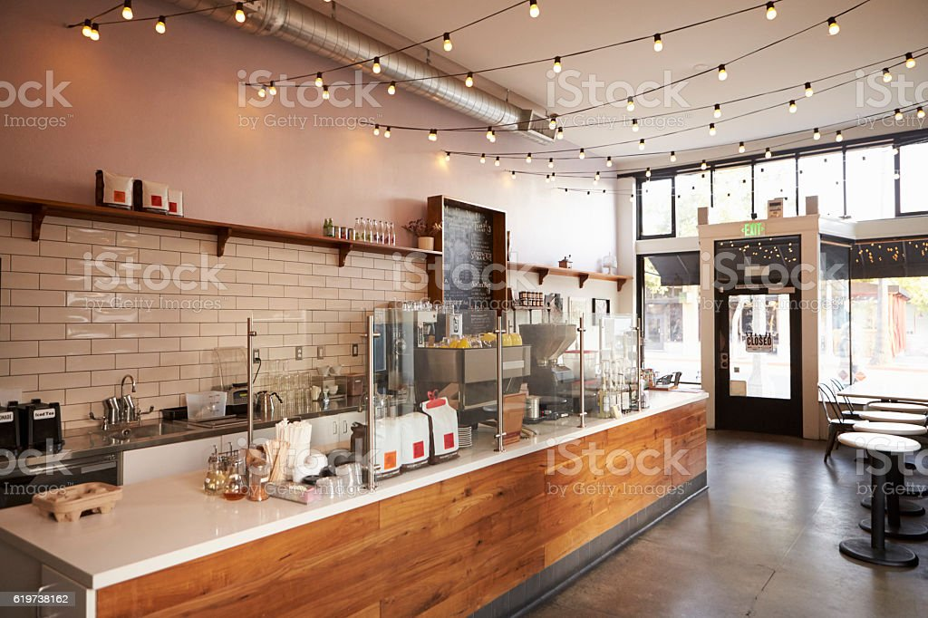 Empty cafe or bar interior, daytime stock photo
