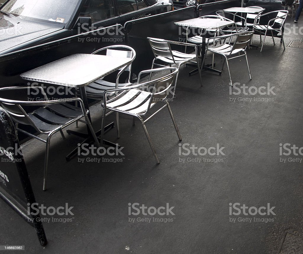 empty cafe outdoor seating royalty-free stock photo