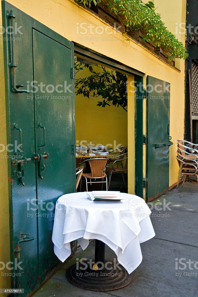 Empty Cafe Table, Greenwich Village, New York City royalty-free stock photo