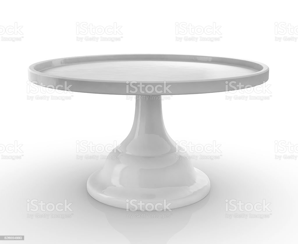 Empty Cake Cookie Stand on White Background stock photo